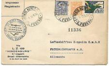 Brazil: 1936; Hindenburg Condor Zeppelin cover, really circulated EBBR05