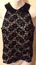 New Retro Pinup Black & Nude Black Lace Sweetheart Illusion Top Junior Sz L