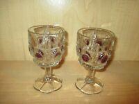 Rare EAPG Antique Glass Goblets Bullseye Daisy Amethyst Stained Set of 2