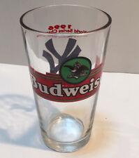 1996 NY Yankee's World Series Champions Budweiser Drinking Glass