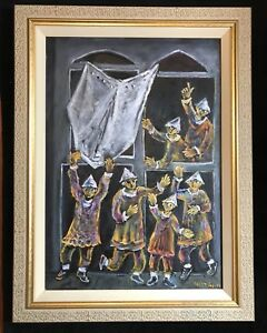 "Yosl Bergner ""THE BELIEVERS""oil On Canvas 100 Cm. X70 Cm. Catalog"