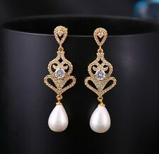 Vintage Wedding Bridal Swarovski Gold Pearl Drop Chandelier Long Earrings NEW