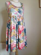 Rene Derhy Vestido Túnica Colorido M UK 10 Crema Floral Hoja Con Cuentas. Coral Azul