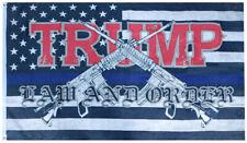 USA Police Trump Thin Blue Line Law & Order 100D 3x5 3'x5' Woven Poly Nylon Flag
