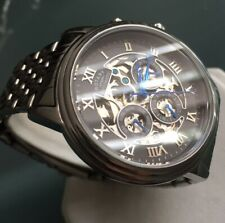 Men's Genuine Rotary Automatic Watch Skeleton exibition 21 Jewels Day-date Black