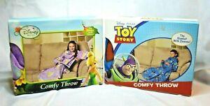 U PICK DISNEY Toy STORY or FAIRIES Comfy THROW Blanket SLEEVES Fleece BLUE Purpl