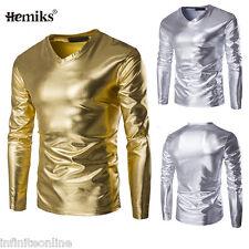 Hot Fashion Men's Glitter Gold Silver T-Shirt V-Neck Long Sleeve Tee Shirt Tops