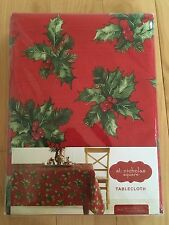 NEW St. Nicholas Square Holiday Holly Christmas Table Cloth Oblong 60x102
