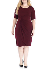 NWT CONNECTED RED FAUX WRAP PLEATED SHEATH CAREER DRESS SIZE 20 W WOMEN $98