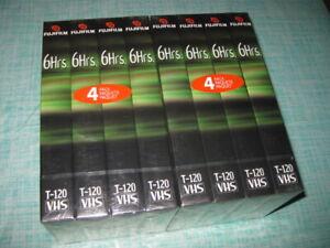 8 Fuji FUJIFILM Standard VHS TAPES T-120 Minutes Sealed NEW