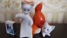Red Fox cub Antigua URSS soviética rusa estatuilla de porcelana s