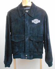 Harley-Davidson Mens Size M Black Suede Leather Zip-Up Biker Jacket