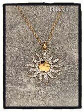 Pendentif Soleil Zirconium Plaqué Or 18 carats 750/1000 Bijoux Femme