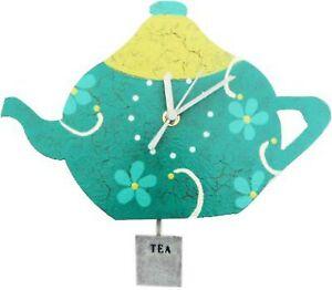 "Oxidos 11"" Green Tea Pot Pendulum Wall Clock Handmade Fair Trade Colombia"