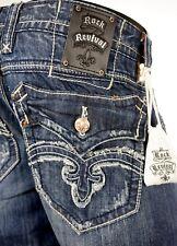 "$220 Mens Rock Revival Jeans ""Mick"" Straight Leg 38 X 33"