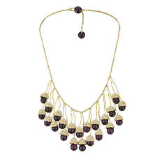 Handmade Dangling Purple Amethyst on Woven Silk Thread Bib Necklace