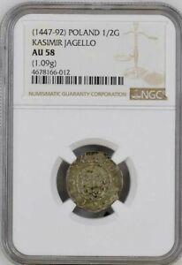 Poland Silver 1/2 Groshe 1447-92  NGC AU-58 Kasimir Jagiello  NGC Census 1/2