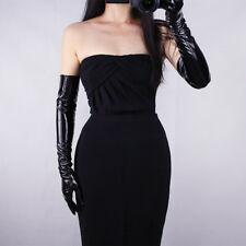 "Long Gloves Shine Leather Faux Patent Leather PU 24"" 60cm Opera Evening Black"