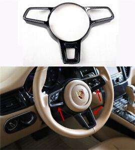 For Porsche macan 2014-2020 Black Carbon Fiber Steering Wheel Frame Cover Trim