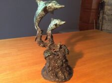 Dan Parker Bronze signed Pair of Dolphins with Swimming Turtle