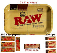 RAW Metal 7x11 Rolling Tray 4 packs 1.25 cigarette papers 4 tips + 79mm Roller