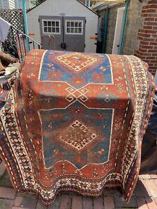 old estate antique caucasian kazak heriz serapi oriental rug