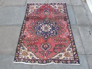 Shabby Chic Worn Vintage Hand Made Traditional Red Pink Wool Small Rug 142x102cm