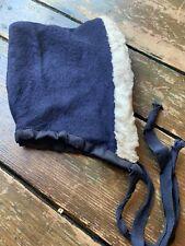 Early Folky Blue Wool Childs Bonnet
