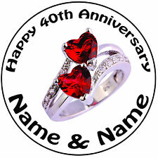 """Personalised 40th Ruby Heart Ring Wedding Anniversary Round 8"""" Icing Cake Topper"""