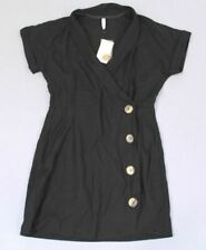 Mango Women's Short Button Fitted Dress GG8 Black Size US:8 NWT $79.99