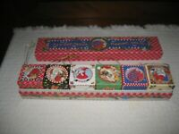 MARY ENGELBREIT CHRISTMAS ORNAMENTS BOX SET of 6 BLOCKS/CUBES Different Designs