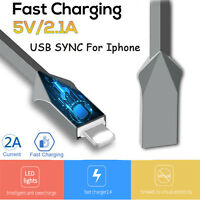 1m 3FT 2.4A Zinc Alloy USB Data Sync Charger Cable For iPhone ipad Mini pro 6/6s