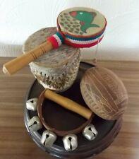 Percussion Instruments Rattles Ethnic Mini Drum Bells Seed Pod Etc. 4 Pieces