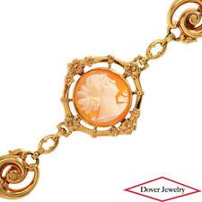 Estate Cameo Shell 10K Gold Side Profile Flower Detail Bracelet 8.5 Grams NR