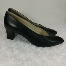 8258ce532f14 Stuart Weitzman Black Leather Pumps with Gold Chain Detail size 7B block  heel