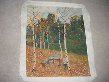 """VINTAGE COMPLETED NEEDLEPOINT VERY FINE GOBELIN GOBLIN FOREST TREES 11.75""""X14"""""""