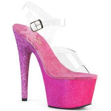 "7"" Pink Purple Ombre Glitter Platform Stripper Heels Pleaser Shoes size 9 10 11"