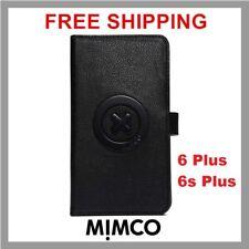 MIMCO Supernatural iPhone 6 6s PLUS Black matte leather Magnetic Flip case DF