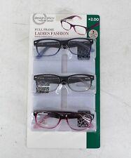 3pk Design Optics Foster Grant Full-Frame Ladies Lenses Reading Glasses +2.00