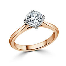 2.00 Ct Round Cut Diamond Engagement Ring 14K Solid Rose Gold Rings Size P Q