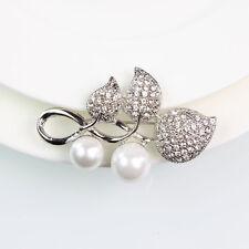 Fashion Cute Silver Plated Leaf Faux Pearl Flower Brooch Pin Diamante Rhinestone