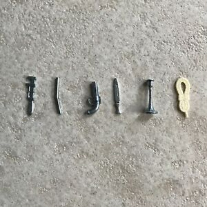 6 CLUE Board Game Pieces, Weapons -Revolver,Pipe,Rope,Knife,Candlestick,Wrench