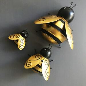 Metal Bumble Bee Decorations, 3D Iron Art Sculpture Ornaments Fence Wall Decor