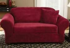 Stretch Royal Diamond Two Piece Sofa Slipcover | Form Fit | Box Cushion red