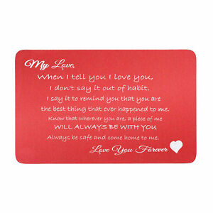 """Anodized Aluminum """"Love You Forever"""" Engrave Metal Wallet Insert Card Keepsake"""