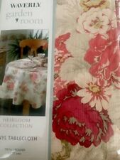 """New WAVERLY GARDEN ROOM TABLECLOTH 70"""" Round Norfolk Vintage Rose French Cottage"""