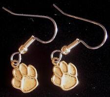 Paw Earrings Dangling 24 Karat Gold Plate Bear Dog Animal Paws