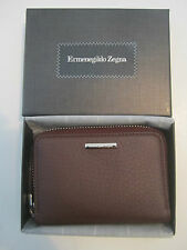 Ermenegildo Zegna Burgundy Leather Zip Coin Wallet Purse NIB $220