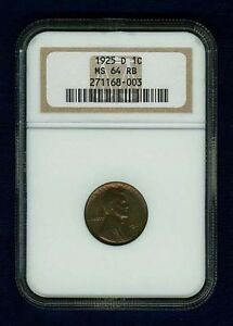 U.S.  1925-D   LINCOLN HEAD SMALL CENT COIN, UNCIRCULATED, NGC CERTIFIED MS64RB