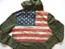 New Ralph Lauren Denim and Supply Army Green Flag Patch Hoodie Jacket Slim M